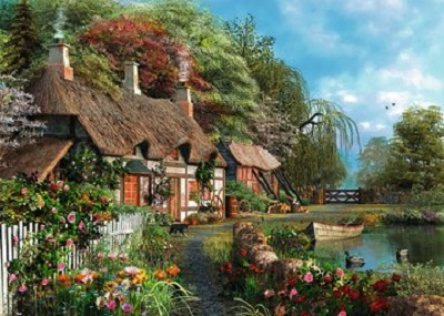 Jigsaw puzzle Cottage on a Lake (Ravensburger) cover image