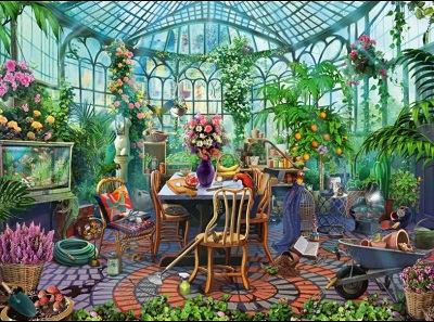Jigsaw Puzzle Greenhouse morning (Ravensburger) cover image