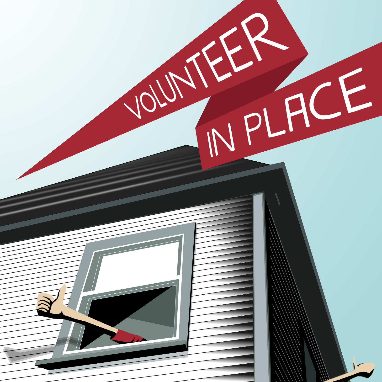Graphic of window with a hand waving and the words Volunteer in Place