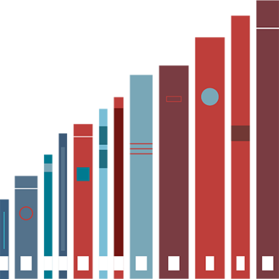 Graphic of books increasing in size