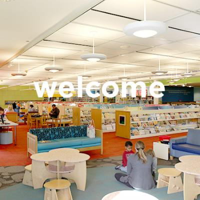 Picture of people in kids world with word welcome