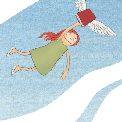 cartoon of girl flying holding book w wings