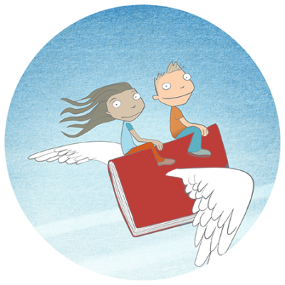cartoon of kids riding on flying book