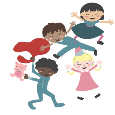 Illustration of 4 kids playing