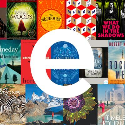 graphic of books with letter e