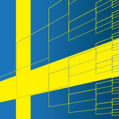 graphic of swedish flag with genealogy tree