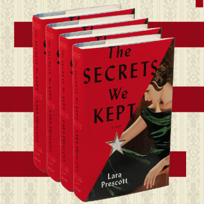 4 stacked copies of book The Secrets We Kept