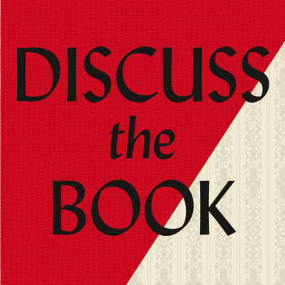 Discuss The Book on red background