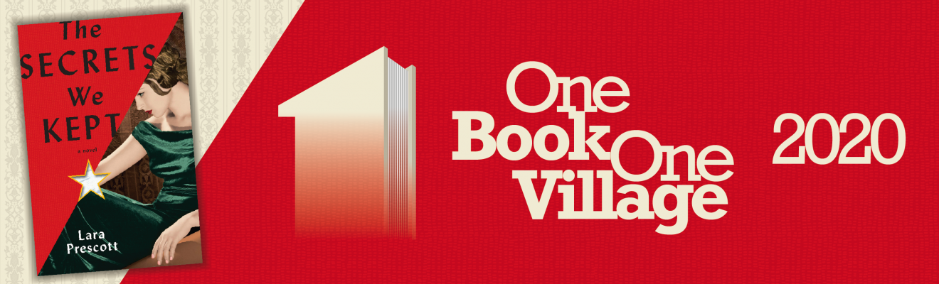 One Book, One Village 2020 on red background with The Secrets We Kept book cover